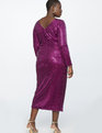 Sequin Maxi Dress with Wrap Skirt Fushcia