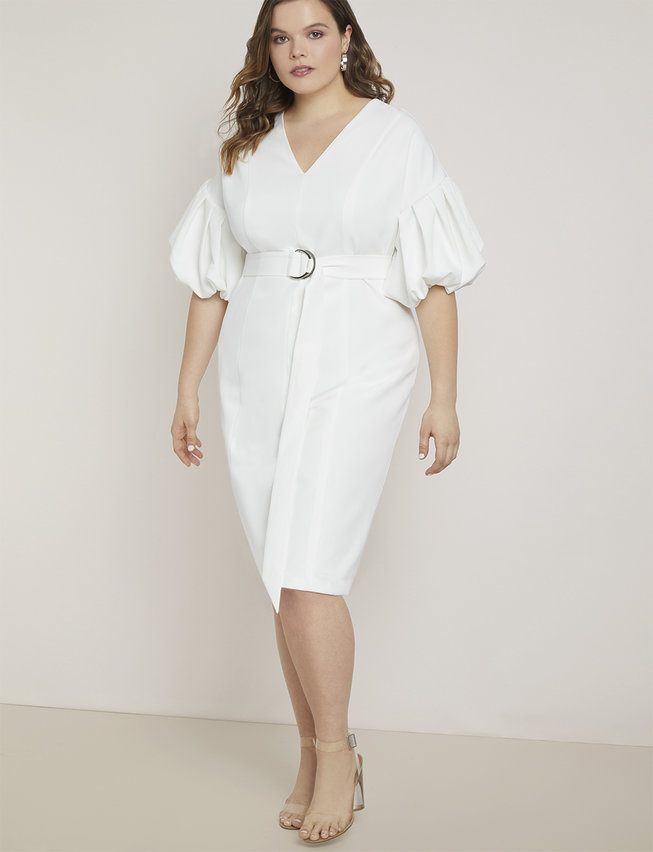Puff Sleeve Sheath Dress