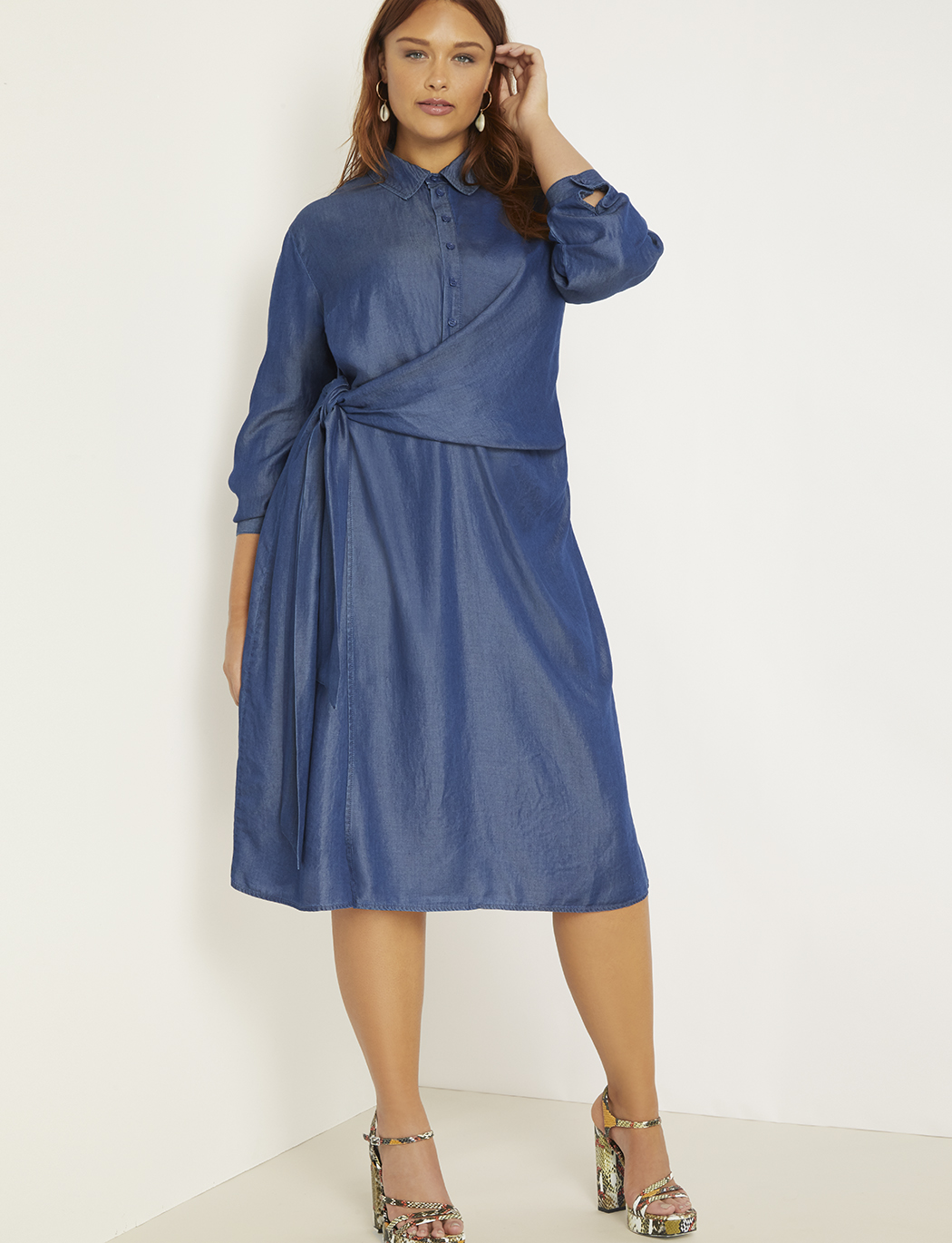 Cinched Waist Chambray Dress | Women\'s Plus Size Dresses | ELOQUII
