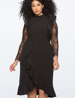 Lace Sleeve Ruffled Hem Dress