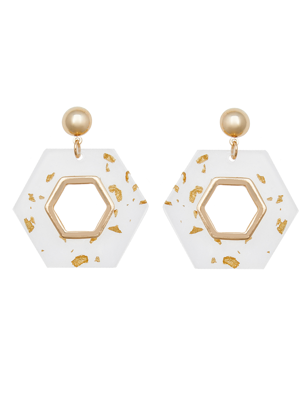 Clear Hexagon Gold Fleck Earrings