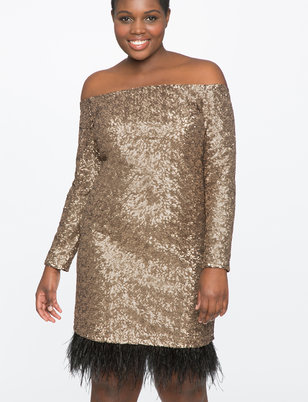 Studio Off the Shoulder Sequin Dress with Feathers