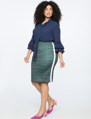 Printed Pencil Skirt with Side Stripe