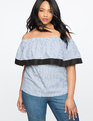Pinstripe Off the Shoulder Flounce Top Blue/White Stripe