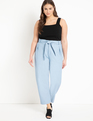 Pleat Front Faux Leather Ankle Pant Powder Blue