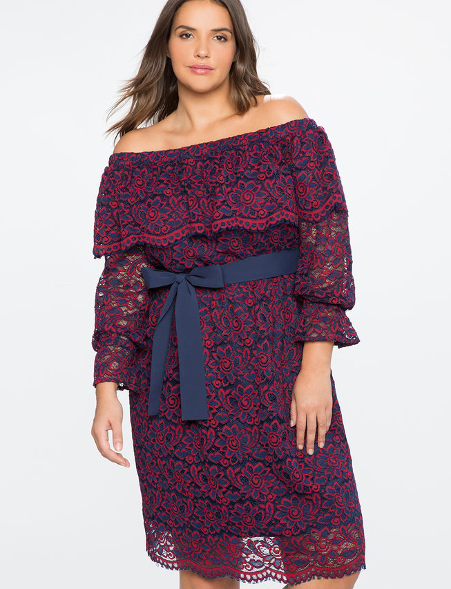 Studio Off the Shoulder Lace Overlay Dress