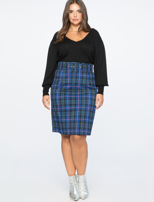 Plaid Column Skirt With Belt