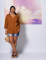 Split Front Tunic Top Tanned Sienna