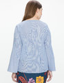 Pinstripe Poplin Flare Sleeve Blouse Blue and White Pinstripe