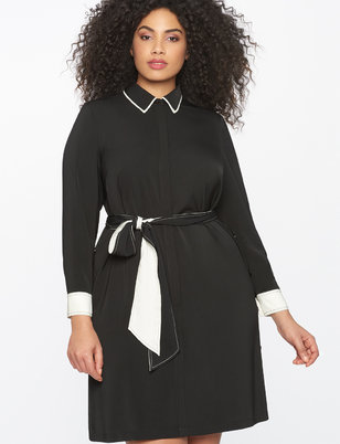 Contrast Detail Shirtdress with Tie Waist