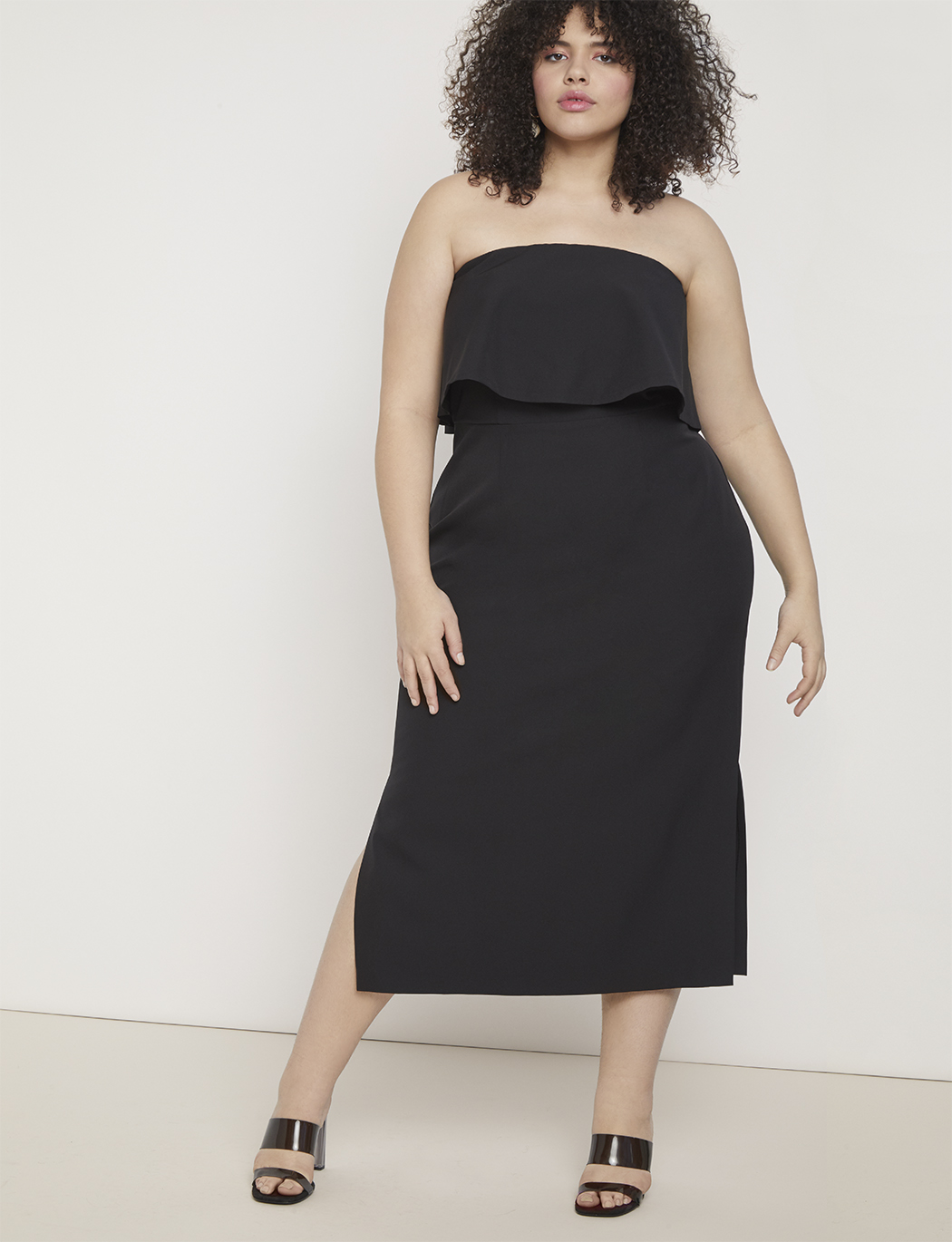 Strapless Dress with Bodice Overlay | Women\'s Plus Size Dresses | ELOQUII