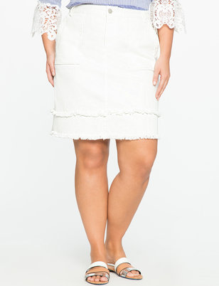 Double Fray Edge Denim Skirt