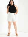 Wrap Front Skort with Buckle White