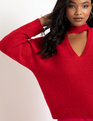 Cutout Necklace Sweater Haute Red