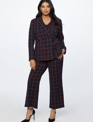 Windowpane Kick Flare Trouser