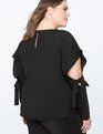 Cutout Sleeve Top With Tie Detail BLACK