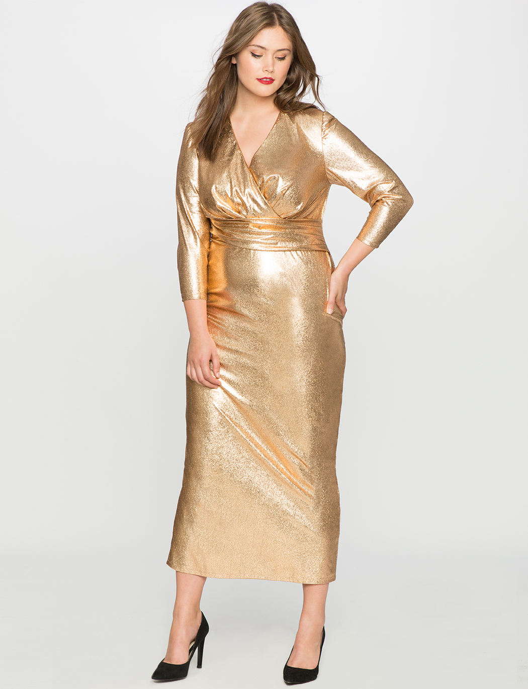 Studio Metallic Textured Wrap Dress | Women\'s Plus Size Dresses | ELOQUII