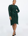 Blocked Stripe Dress Botanical Green and Black Stripe