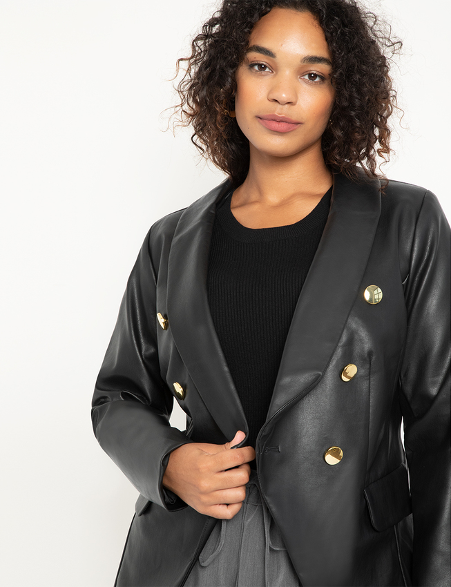 Double Breasted Faux Leather Blazer