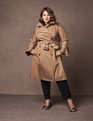 Ruffle Sleeve Trench Coat Khaki