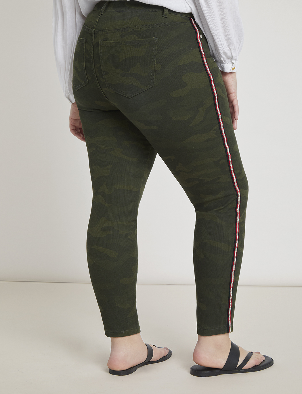 Camo Embellished Side Strip Skinny Jean