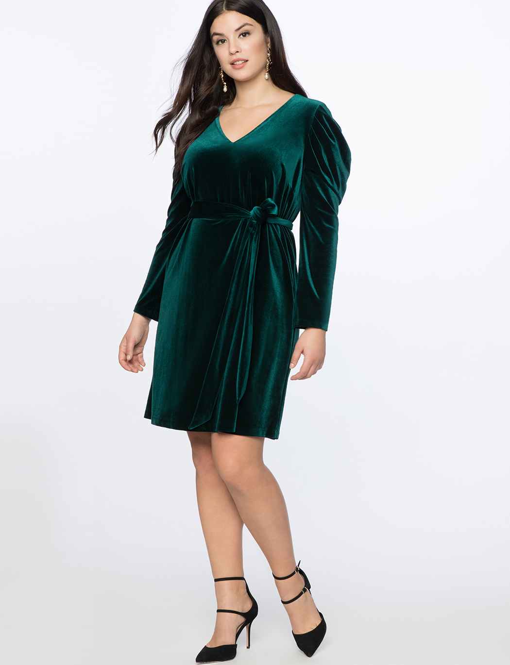 36fe66cbb4102 Draped Puff Sleeve Velvet Dress | Women's Plus Size Dresses ...