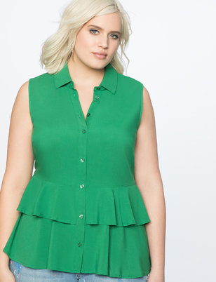 High Low Ruffle Peplum Button Down