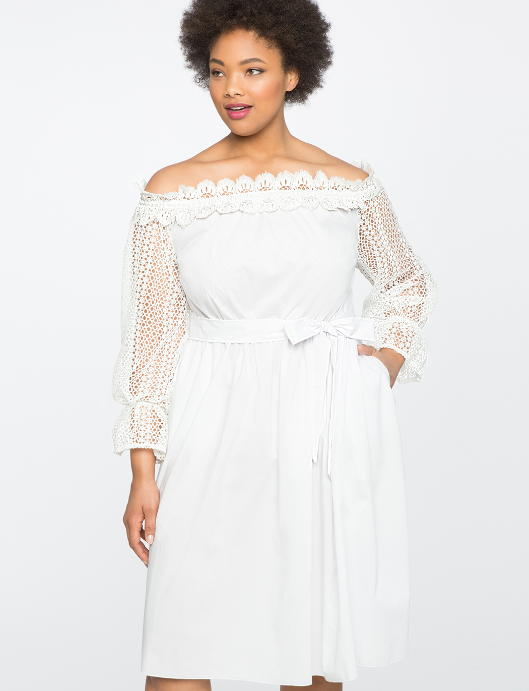 Studio Off the Shoulder Dress with Lace Trim