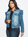 Ruffle Detail Denim Jacket Medium Wash