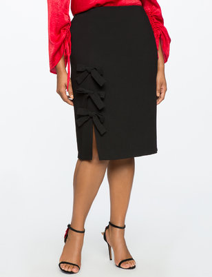 Bow Detail Column Skirt