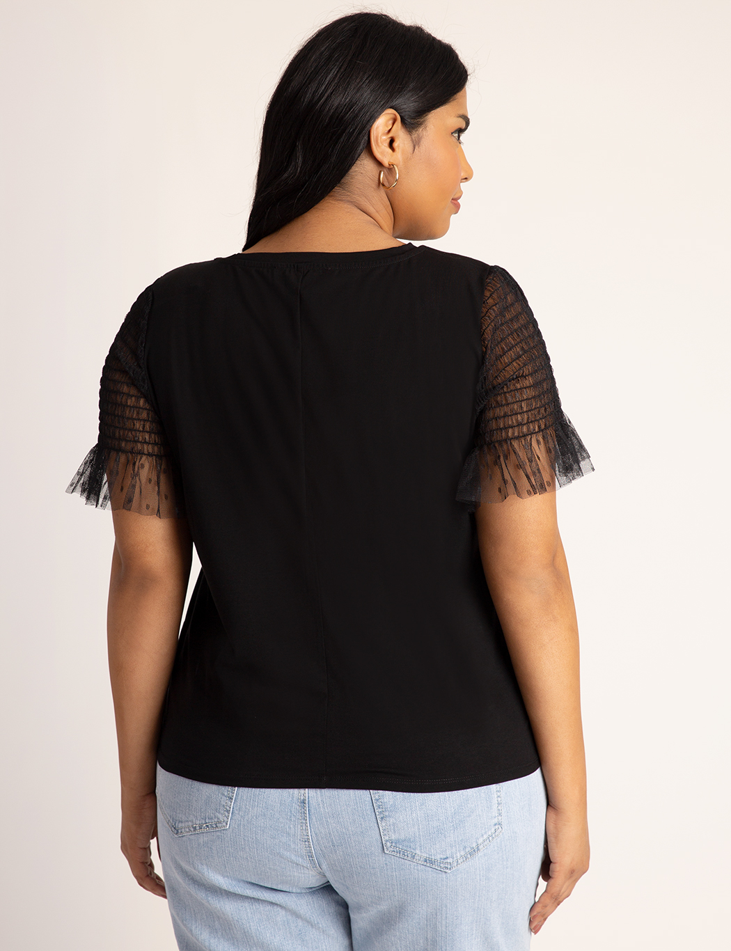 Point D'esprit Ruffle sleeve Tee