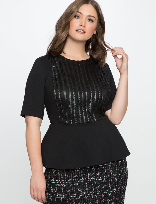 Plus-size Women's - Textured Faux Leather Peplum Top. So foxy in faux leather! My new peplum top is perfect for parties, nights out, and making a statement wherever you're headed, hot stuff.
