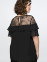 Lace Yoke with Ruffle Top Totally Black
