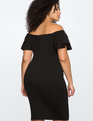 Ruffled Sleeve Off the Shoulder Dress BLACK