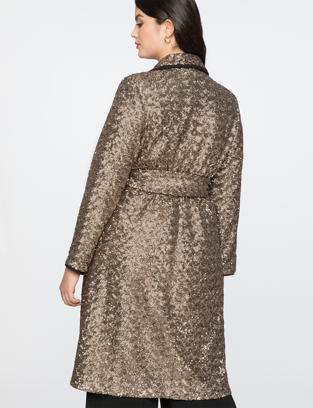 Long Sequin Trench Coat