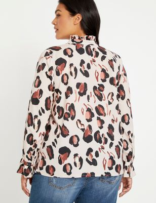 Printed Button Down Shirt with Ruffle Neck
