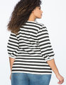 Striped Puff Sleeve Top Black + White