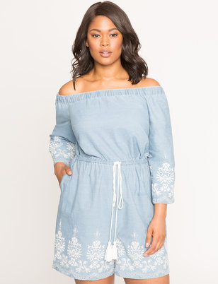 Off the Shoulder Embroidered Chambray Romper