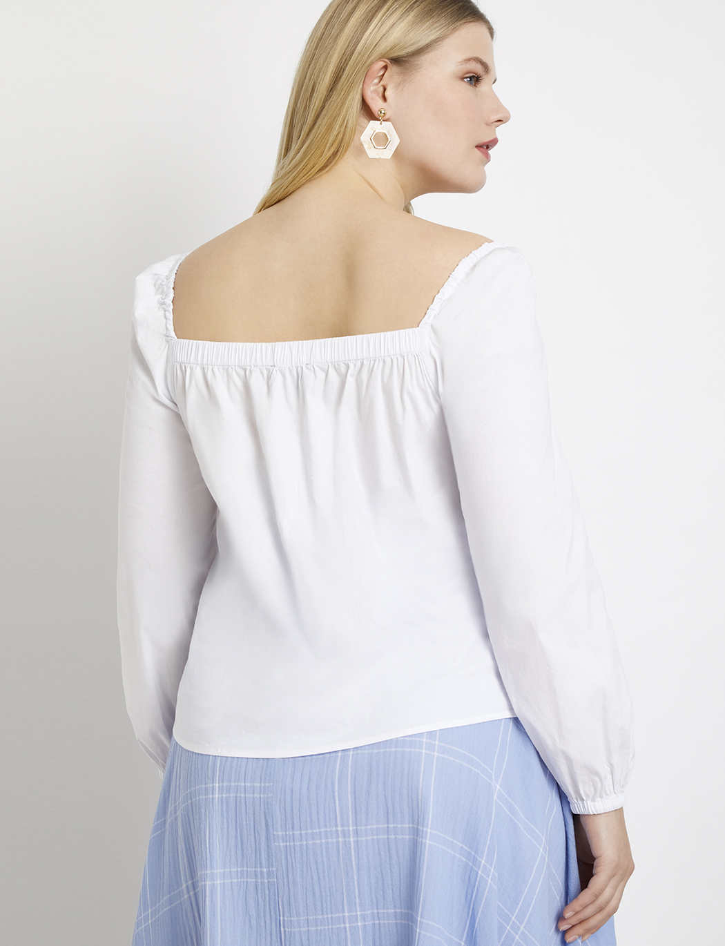 Sweetheart Neckline Button Detail Top