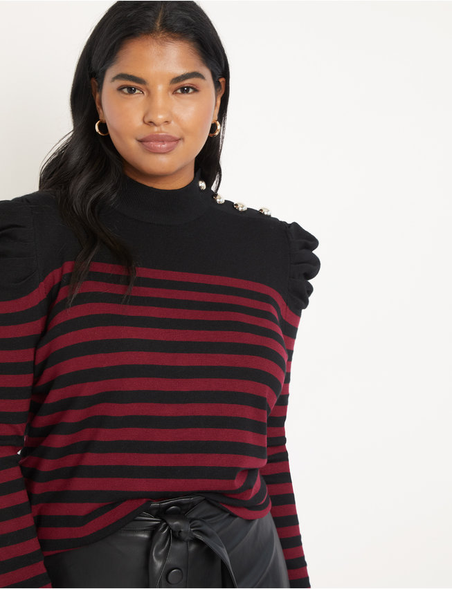 Stripe Sweater with Button Collar
