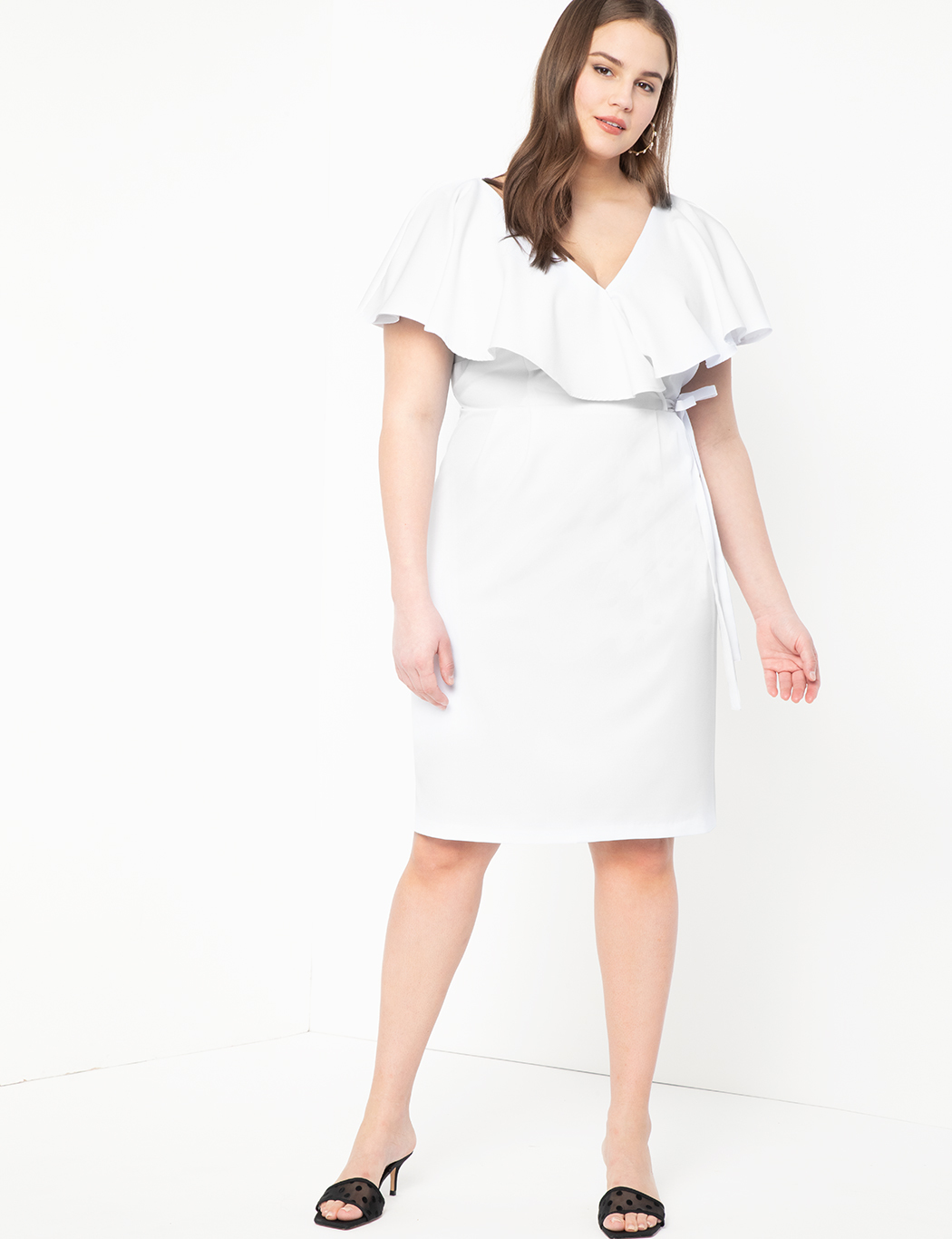 Surplice Bodice Dress with Cape Sleeve