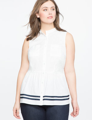 Sleeveless Peplum Button Down Top