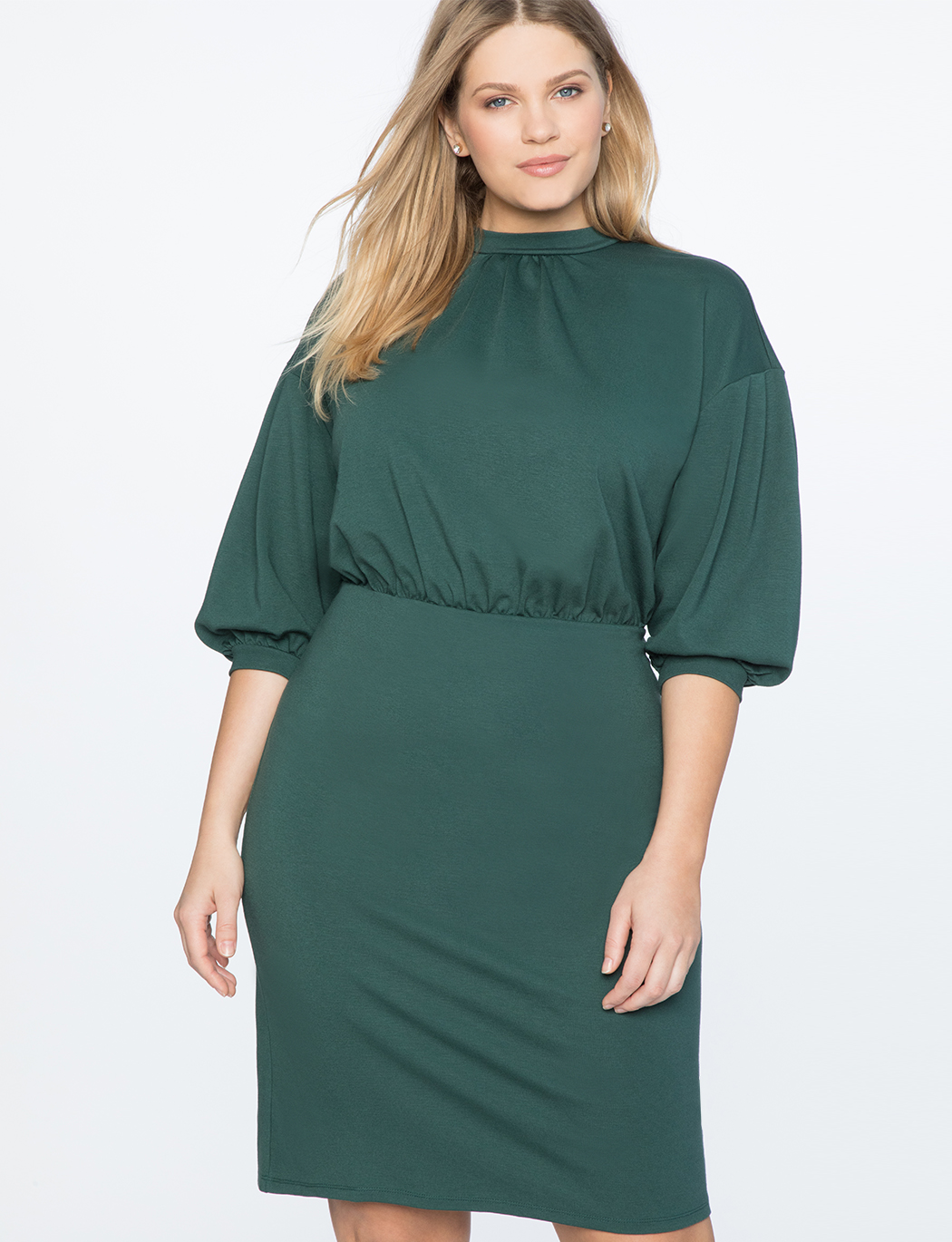 Puff Sleeve Tie Back Ponte Dress | Women\'s Plus Size Dresses | ELOQUII