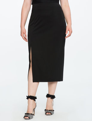 Split Hem Midi Pencil Skirt
