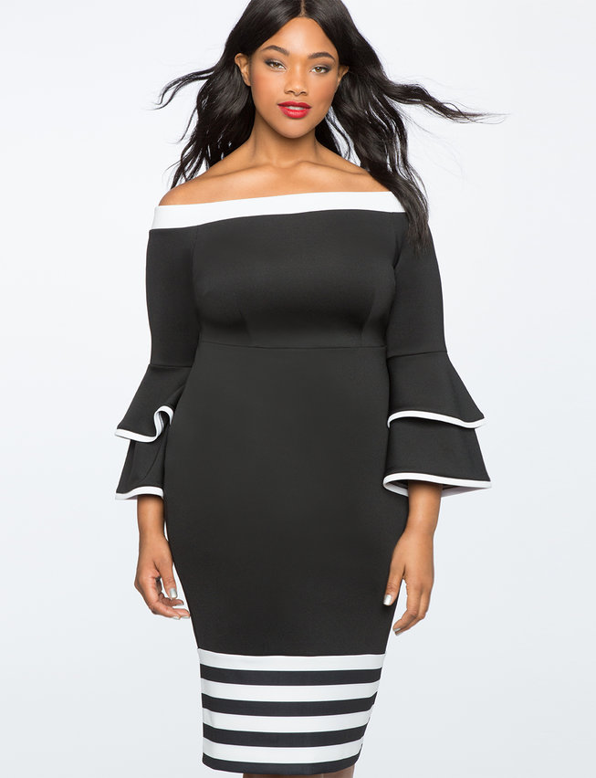 Colorblock Flare Sleeve Dress