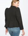 Peplum Blazer with Pearl Button Detail Totally Black