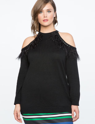 Cold Shoulder Sweater with Feather Trim