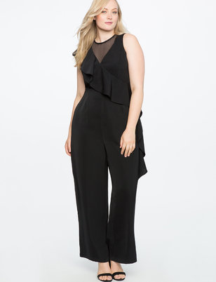 Wide Leg Jumpsuit with Sheer Detail