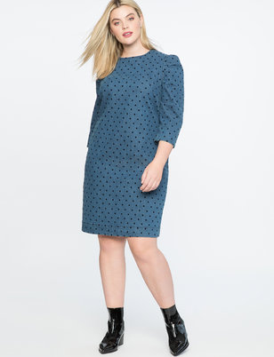 Flocked Dot Puff Sleeve Denim Dress