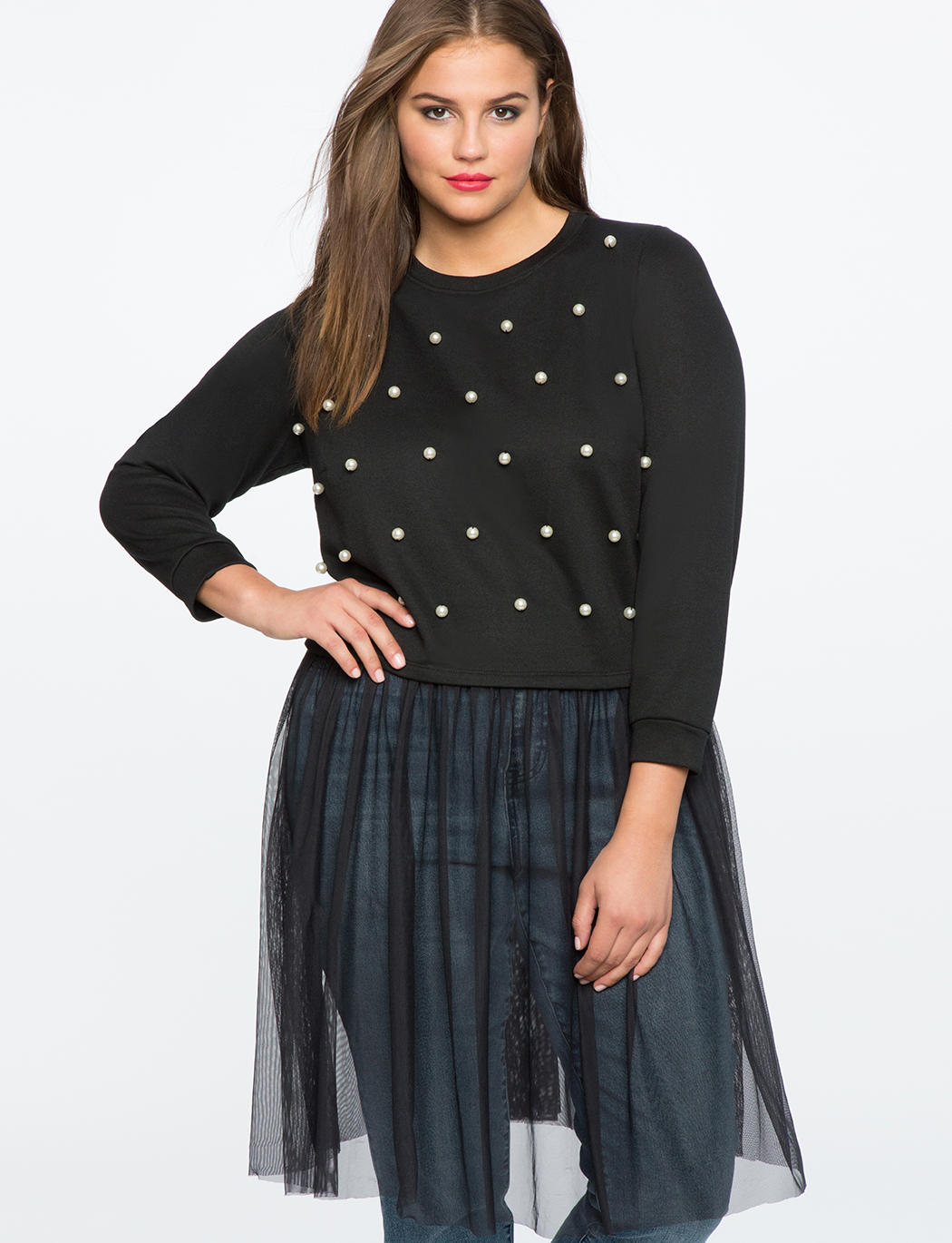Pearl Embellished Sweatshirt with Tulle